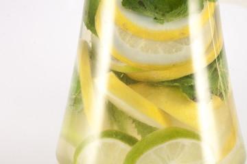 Lemon, lime and mint, inside glas