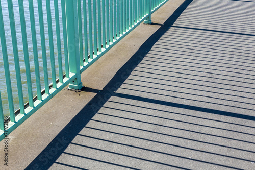 canvas print picture pattern of cologne Bridge with shadow from reling