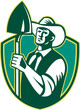 Organic Farmer Shovel Shield Woodcut