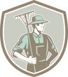 Organic Farmer Rake Shield Woodcut Retro