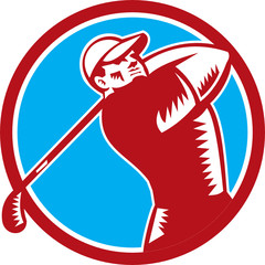 Golfer Tee Off Golf Circle Woodcut