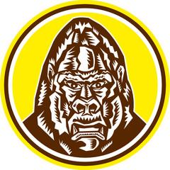 Angry Gorilla Head Circle Woodcut Retro
