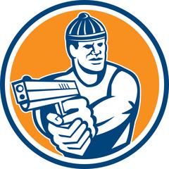 Robber Pointing Gun Circle Retro