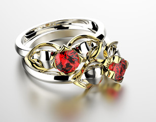 Wedding Ring with garnet. Fashion Jewelry background