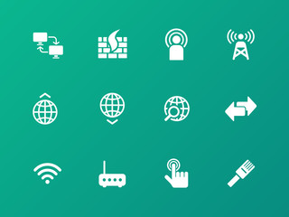 Networking icons on green background.