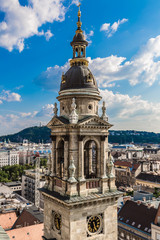 Aerial view at Budapest from the top of St Stephen Basilica