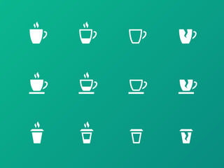 Coffee cup circle icons on green background.