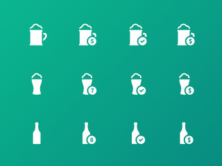 Beer and alcohol glasses icons on green background.