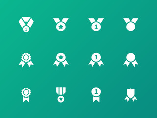Award medal icons on green background.