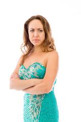 model isolated on plain background upset angry worried