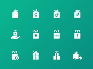 Gift icon set on green background.