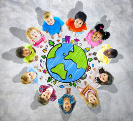 Kids is Circle with Globe