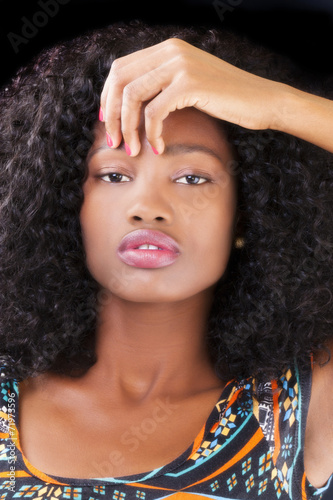 canvas print picture Attractive African American Teen Woman Portrait Hand