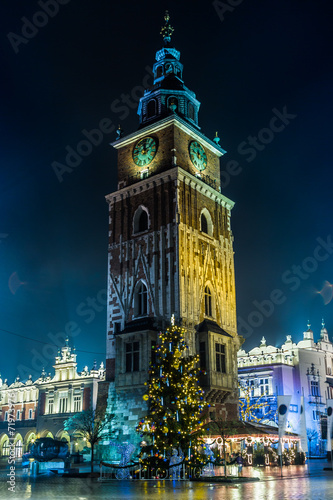Poland, Krakow. Market Square at night. - 71973976