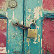 Vintage wood door with lock and chain