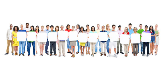 Group Of People Holding A Blank Board
