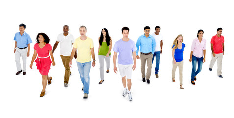 Diverse Group of People Walking