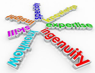 Ingenuity Specialty Skill Insight Knowhow 3d Words Background