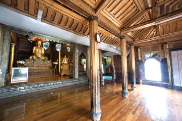 Myanmar art inside at wood Church of Nyan Shwe Kgua temple.