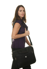 Confident Business Woman with Laptop Bag on White Background