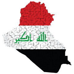 Fragmented flag of Iraq