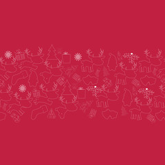 christmas  line doodle seamless pattern