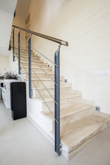 Marble stairs in luxury apartment