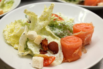 Salad  smoked salmon with vegetables  delicious