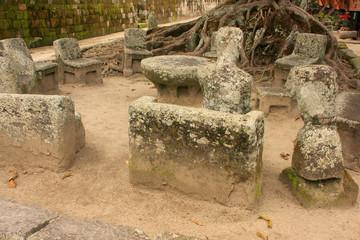 Stone chairs in Ambarita, Samosir island, Sumatra, Indonesia