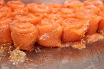 roll Smoked salmon background with gellatin