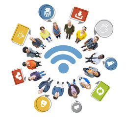 Multi-Ethnic Group of People and Wireless Technology Concept