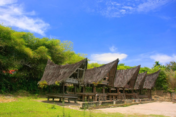 Traditional Batak houses on Samosir island, Sumatra, Indonesia