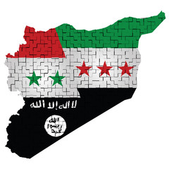 Fragmented flag of Syria