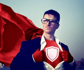 Strong Superhero Businessman Protection Concepts