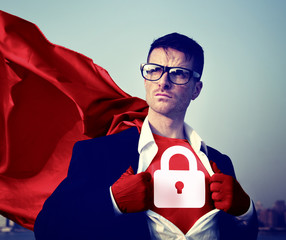 Strong Superhero Businessman Padlock Concepts