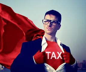 Strong Superhero Businessman TAX Concepts