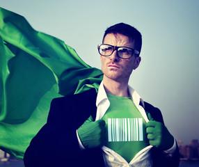 Strong Superhero Businessman Barcode Concepts