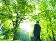 Green Businessman in the Woods