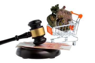 Hammer of judge with money and model of house in trolley isolate