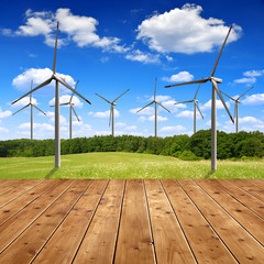Meadow with wind turbines and wooden planks