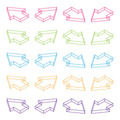 3d vector isometric outline arrow colorful