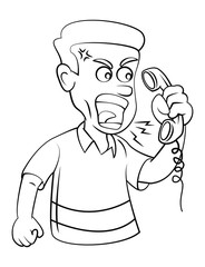 Man Angry With Telephone