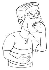 man resist vomiting