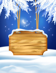 Winter Night Landscape Wooden Board