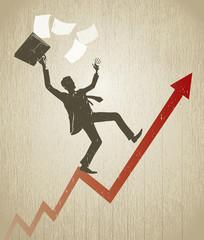 Businessman balance on line graph