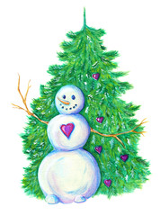 Snowman with conifer in hearts