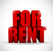 for rent 3d text illustration design