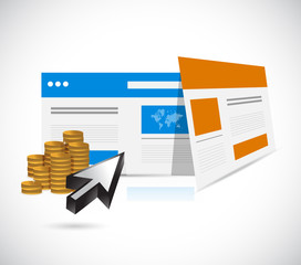 websites templates and coins illustration