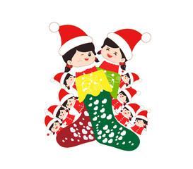 kids huddled toghether inside a christmas stocking