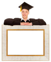 Graduate man with frame